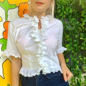 Vintage 50s cropped peasant blouse Edwardian M/L